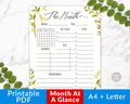 Month at a Glance Printable- Watercolor Greenery
