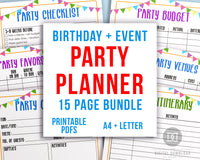15 page party planner printable bundle, perfect for planning any type of party! Use this event planner template kit to plan out different aspects of your party and record important information so you don't forget a thing!