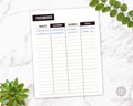 Password Tracker Printable- Black and White