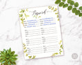 Password Tracker Printable- Watercolor Greenery