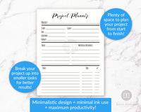 Project planner printable. Use these handy project management/goal tracking printables to help yourself be as productive as possible when working on projects or goals!