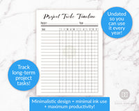 Project tasks timeline printable. Use these handy project management/goal tracking printables to help yourself be as productive as possible when working on projects or goals!