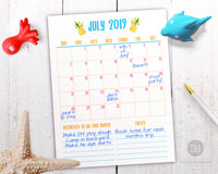 2019 summer activity planner pack- summer calendar printable. Parents, your kids' 2019 summer vacation is sure to be amazing when you plan it out with this summer planner!