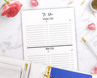 To Do List Printable- Personal + Work