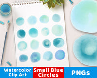 Watercolor Circle Clipart- Small Blue