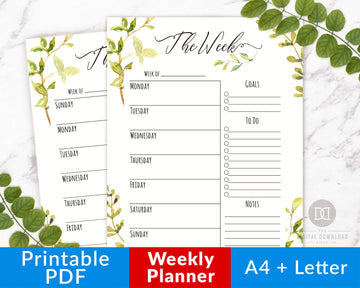 Weekly Planner Printable- Watercolor Greenery