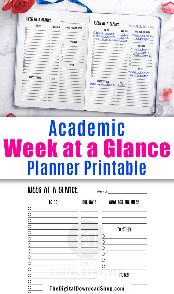 Academic week at a glance planner printable for bullet journals and other planners. This undated academic planner printable will help you get your weeks planned out and organized and will keep you from forgetting anything important!