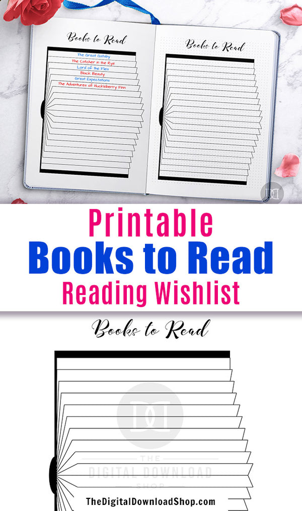 Books to Read Bullet Journal Printable- Use this reading list planner printable to keep track of all the books you want to read! | #reading #bulletJournal #planner #DigitalDownloadShop