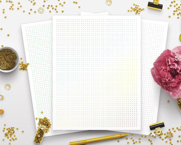 Colored Dot Grid Bullet Journal Printable - The Digital Download Shop