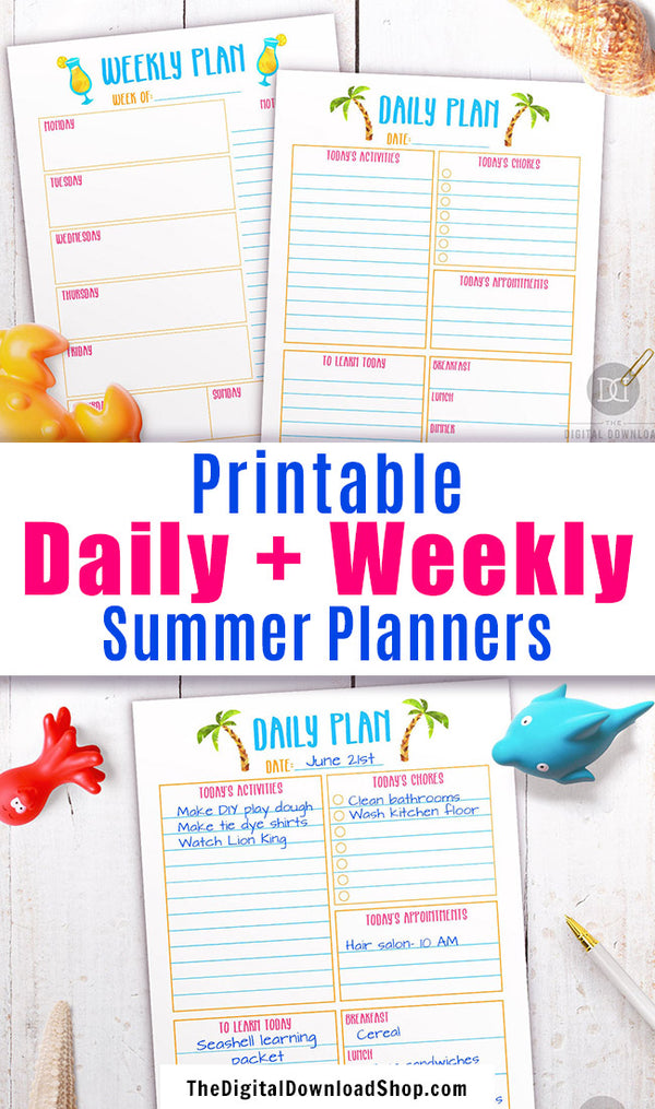 Summer daily and weekly planners with cute summer graphics. Parents, plan out the perfect summer vacation with the help of these printable day at a glance and week at a glance planners!