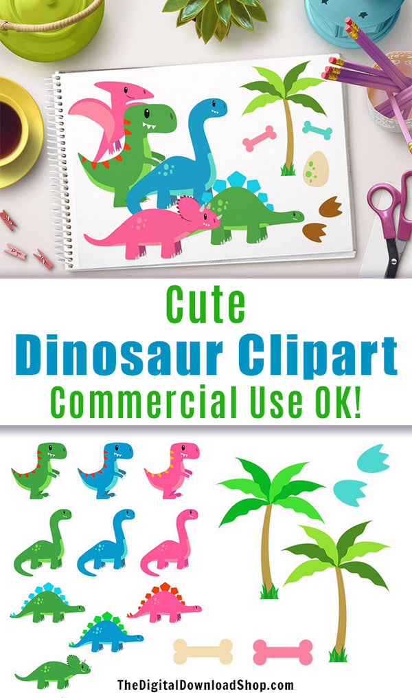 Cute Dinosaur Clipart- 29 cute dinosaur clipart images for personal and commercial use! This dinosaur clipart set includes 15 dinosaurs- 5 different kinds, each in green, blue, and pink. 14 extra graphics (including dinosaur eggs and palm trees) are also included! These would be lovely in scrapbook projects, birthday party invitations, printable nursery wall art, and more! | #clipart #dinosaurs #DigitalDownloadShop