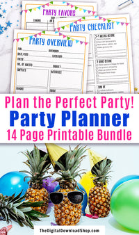 Party planner printable bundle, perfect for planning any type of party! Use this event planner template kit to plan out different aspects of your party and record important info so you don't forget a thing! | kids birthday party, graduation party, anniversary party, #planner #party #partyPlanning #DigitalDownloadShop