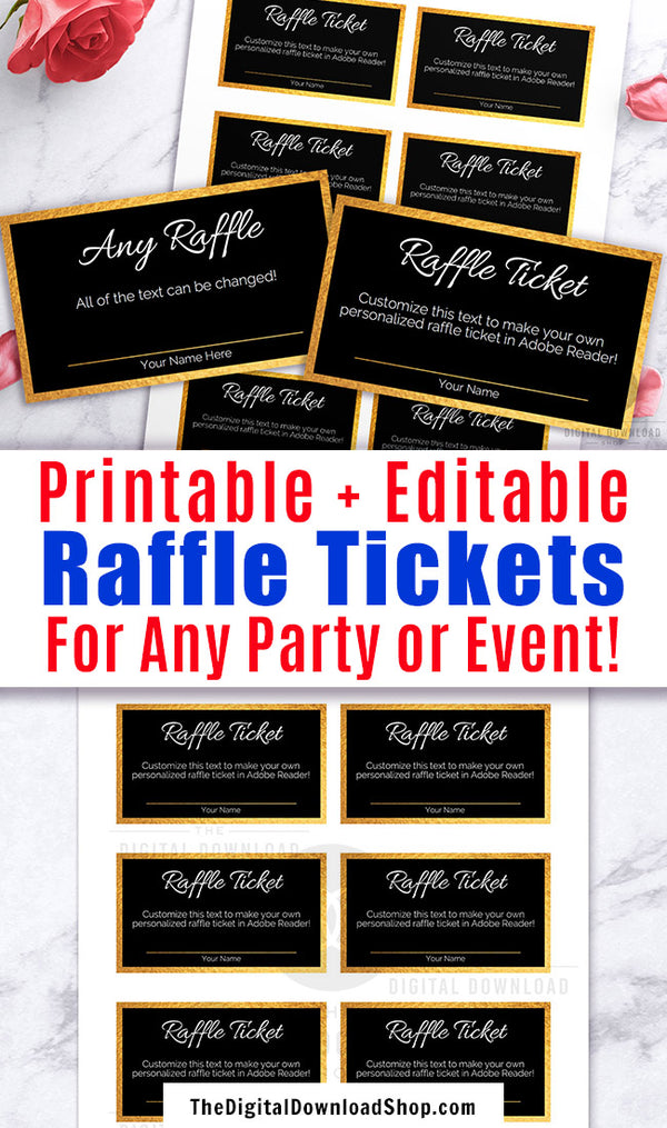 Editable and printable raffle tickets with a gold and black theme. These DIY raffle tickets are the best way to create perfectly customized raffle tickets for your party or event!