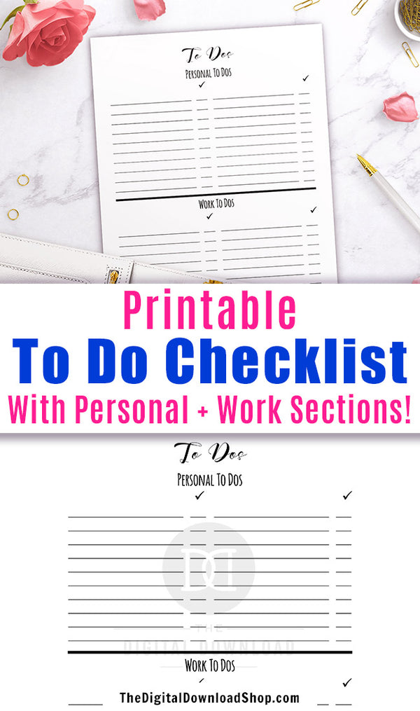 To do list printable with sections for personal and work tasks. Use this printable to do page to help yourself stay on top of all that you need to do in your personal and professional life!