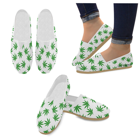 White and Green Weed Leaf - casual slip ons Women's Casual Shoes