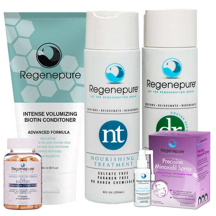 Regenepure Hair Care & Regrowth System for Her (DR + NT + Biotin Conditioner + Minoxidil +Supplement)