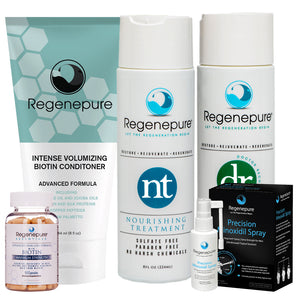 Regenepure Hair Care & Regrowth System for Him (DR + NT + Biotin Conditioner + Minoxidil +Supplement)