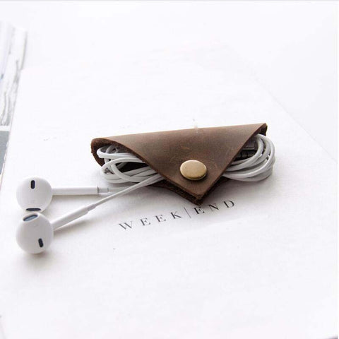 Genuine Leather Earphone Cable winder