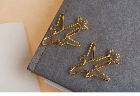 10 pcs/lot golden plane shape paper clip