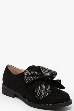 Crystals Embellished Bow Low Heel Black Shoes-SinglePrice