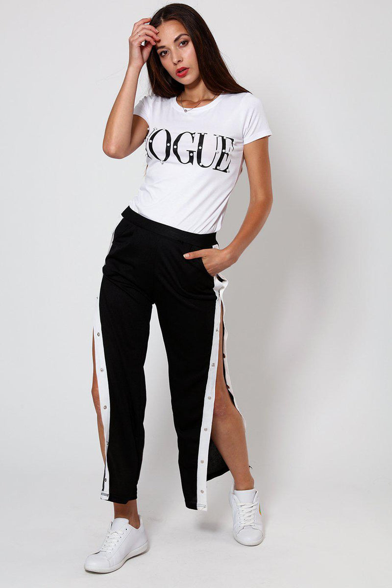 Sports White Stripe Side Button Up Black Trouser-SinglePrice