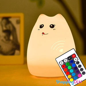 Veilleuse tactile multicolore en forme de chat