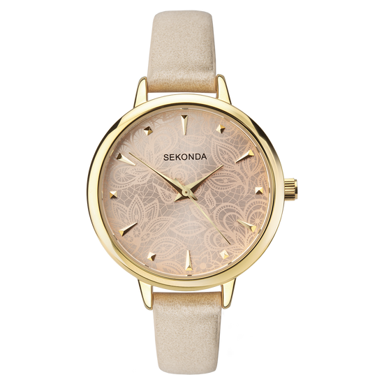 Sekonda Editions Women's Beige Strap Watch Front View