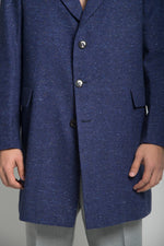 SINGLE BREASTED OVERCOAT IN NAVY