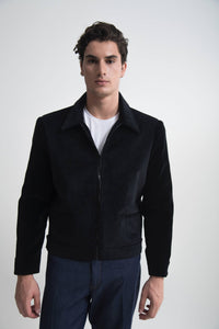 SHEARLING-TRIMMED CORDUROY BOMBER JACKET BLACK
