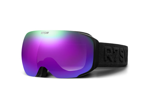 Recycled plastic goggles with purple magnetic lens and black frame.