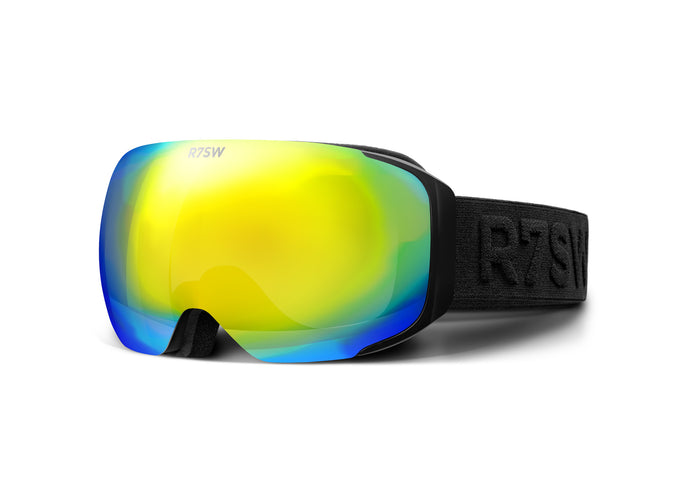 Frameless goggles made from recycled plastic, with magnetic yellow lens