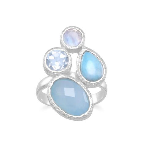 Blue Sky Cluster Stone Ring
