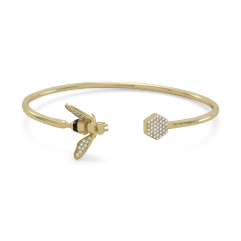 CZ Bee Gold Flex Cuff