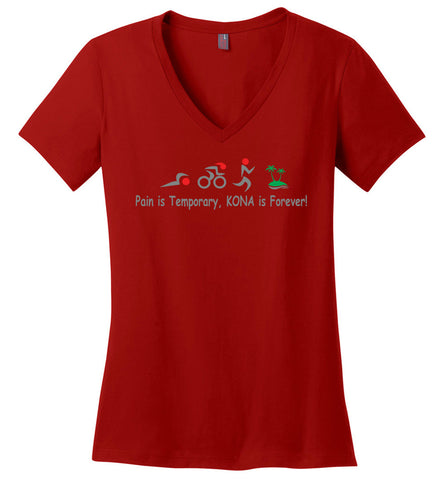 "Women's Triathlon V-Neck T-Shirt ""Kona is Forever"""
