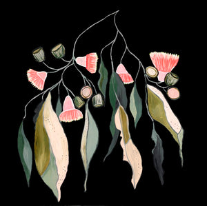 "Limited Edition Print ""Gum Leaves in Bloom Noir''  25% off sale at checkout!!"