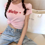 Pink Baby Embroidered Knit Crop Top Belly Shirt Cropped Tee T-Shirt Cute Kawaii Fashion Little Space