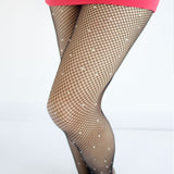 diamond studded rhinestone fishnet stockings socks thigh high panty hose fish net kawaii fashion kawaii babe
