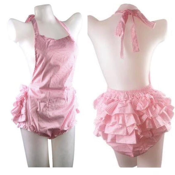 Pink Plaid Ruffled Romper Bodysuit Apron Sissy Ageplayer ABDL Diaper Lover Cover Kink Fetish by DDLG Playground