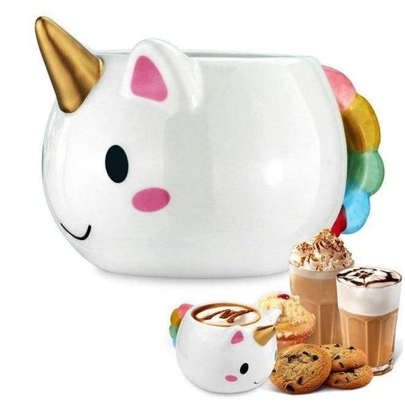 Ceramic Rainbow Unicorn Mug Golden Horn Drinking Glass Coffee Cup by DDLG Playground