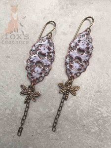Filigree Dragonfly Earrings Lilac