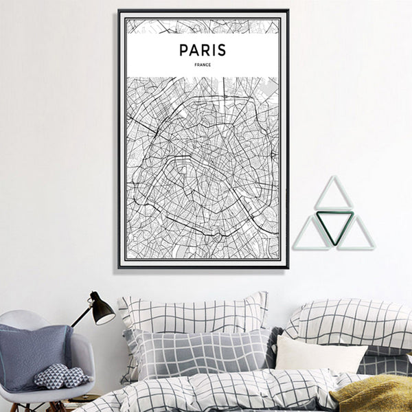 Paris's Map Painting-Paintings-Wantalo