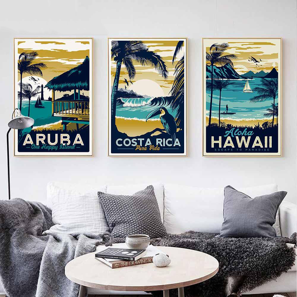Tropical Beach Vintage Paintings-Paintings-Wantalo