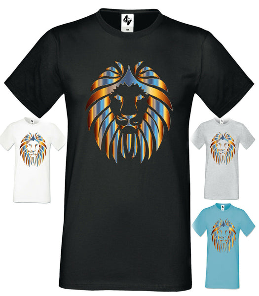 Mens Designer Lion Fashion Short Sleeve T Shirt Crew Neck
