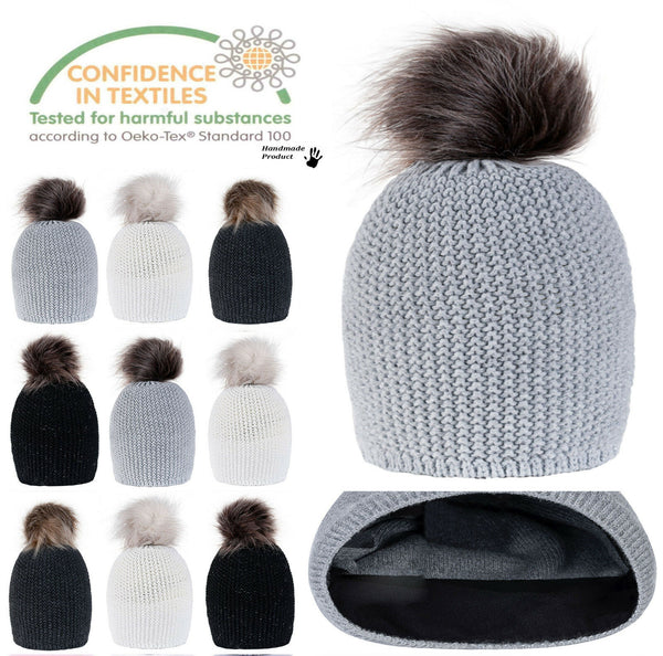 Women Winter Beanie Hat Knitted CRYSTAL Ladies Fashion Large Pom Pom Gifts BL