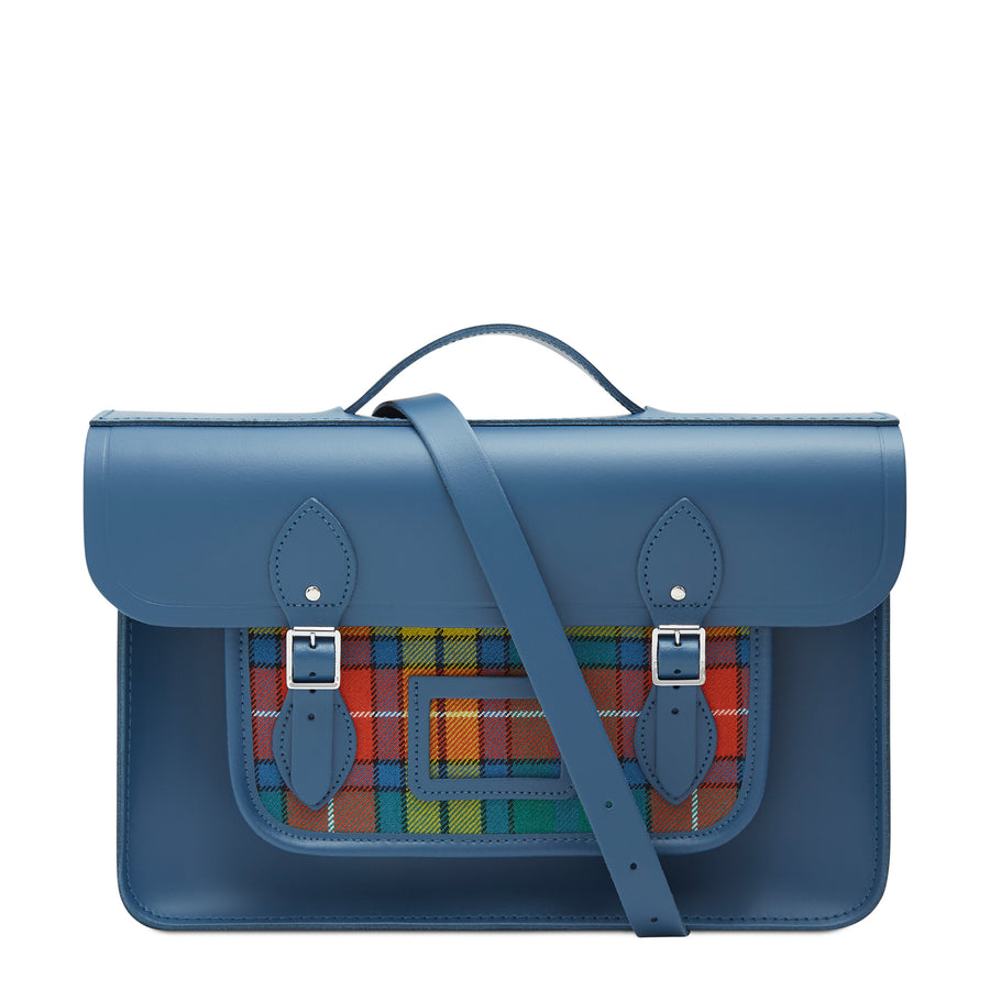 15 Inch Classic Batchel in Leather - Peacock & Strome Buchanan Tartan | Cambridge Satchel Company