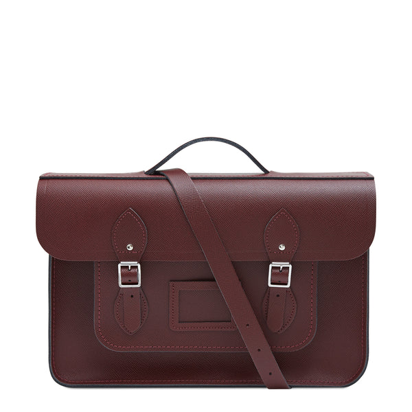 15 Inch Classic Batchel In Leather   Oxblood Saffiano by Cambridge Satchel
