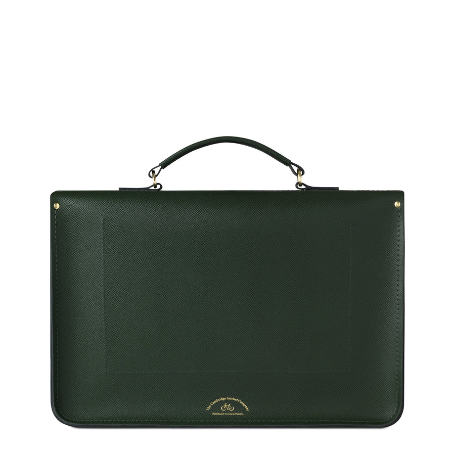 Large Briefcase in Leather - Racing Green Saffiano
