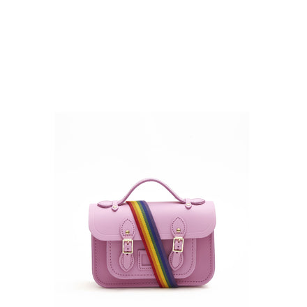 Magnetic Mini Satchel in Leather - Violet Matte with Rainbow Webbing Strap
