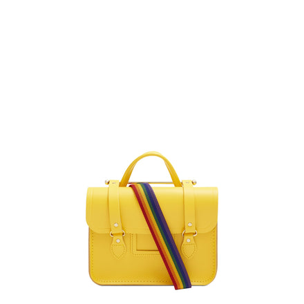 Melody Bag In Leather - Spectra Yellow with Rainbow Webbing Strap