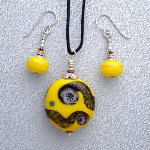 Lampwork Glass Set in Yellow with Pendant Hung on Black Cord